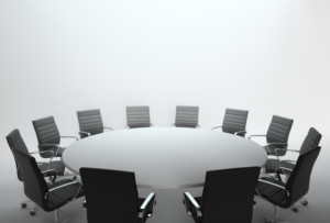 An empty meeting room and conference table