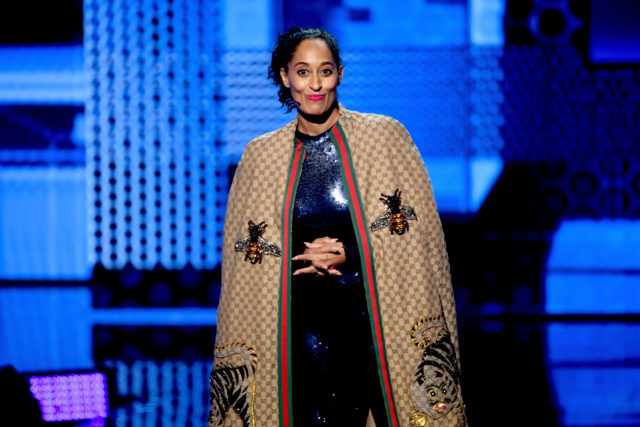 Tracee Ellis Ross wearing Dapper Dan exclusive Gucci Collection
