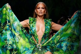 Jennifer Lopez presents a creation from the Versace Spring/Summer 2020 collection during fashion week in Milan, Italy September 20, 2019. REUTERS/Alessandro Garofalo
